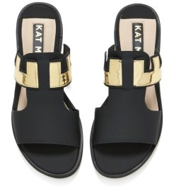Kat Maconie Women's Bertie Leather Mirror Flat Sandals - Black 1