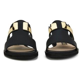 Kat Maconie Women's Bertie Leather Mirror Flat Sandals - Black 3