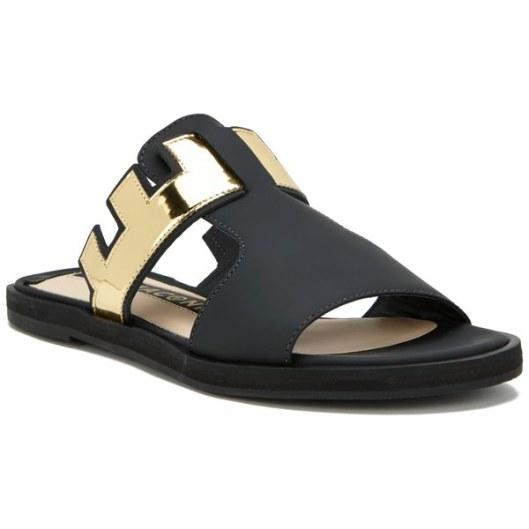 Kat Maconie Women's Bertie Leather Mirror Flat Sandals - Black 4