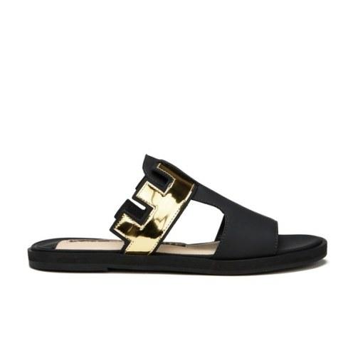 Kat Maconie Women's Bertie Leather Mirror Flat Sandals - Black