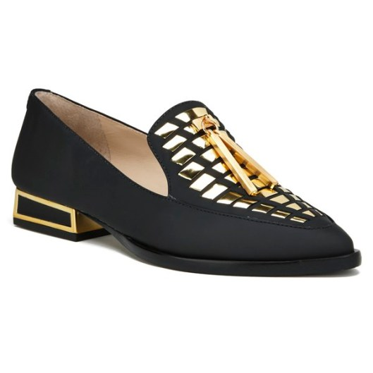 KAT MACONIE WOMEN'S ESME LEATHER MIRROR POINTED FLAT SHOES - BLACK 5