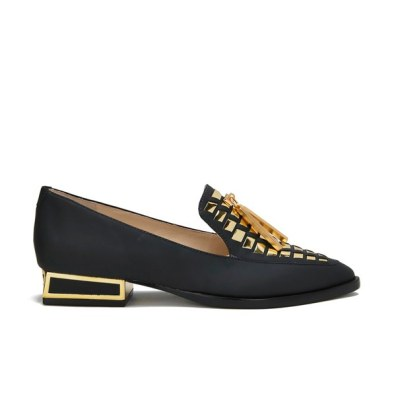 KAT MACONIE WOMEN'S ESME LEATHER MIRROR POINTED FLAT SHOES - BLACK